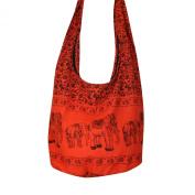 Hippie Elephant Sling Crossbody Bag Shoulder Bag Purse Thai Top Zip Handmade New Colour : Orange.