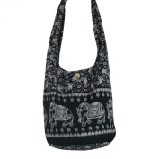 Hippie Royal Elephant Sling Crossbody Bag Purse Thai Top Zip Handmade New Colour Black.