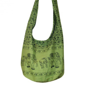 Hippie Elephant Sling Crossbody Bag Shoulder Bag Purse Thai Top Zip Handmade New Colour : Light Green.