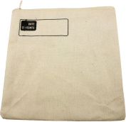 HomArt Canvas Zipper Square Bag with Logo, White