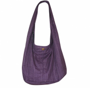 Hippie Hobo Sling Crossbody Bag Messenger Purse Handwoven Cotton Colour Light Purple LL 05.