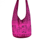 Hippie Elephant Sling Crossbody Bag Shoulder Bag Purse Thai Top Zip Handmade New Colour Rose Pink