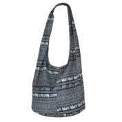 Hippie Thai Elephant Sling Crossbody Bag Purse Thai Top Zip Handmade New Colour Black TE 01
