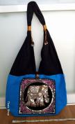Hippie Hobo Sling Crossbody Bag Messenger Purse Handwoven Cotton Colour Plain Black