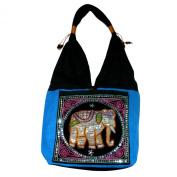 Hippie Elephant Sling Shoulder Bag Purse Thai Top Zip Handmade New Colour : Black & Blue.