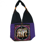 Hippie Elephant Sling Shoulder Bag Purse Thai Top Zip Handmade New Colour : Black & Purple.