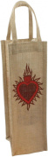 HomArt Jute 1 Bottle Wine Tote, Sacred Heart