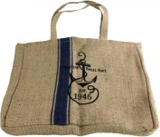 HomArt Twill Tote with Blue Ticking, Navy