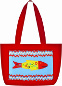 Manual Woodworkers & Weavers Fabric Beach Tote with Climaweave Missy Fishy Design, 50cm by 36cm