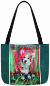 Manual Woodworkers & Weavers Dog Crossing Welsh Corgi Tote Bag, 41cm by 36cm
