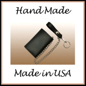 Black Genuine Cowhide Leather Trucker Trifold Chain Wallet / Biker Trifold Chain Wallet