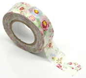 Washi Tape - Aged Vintage Style Flower Design - 10m X 1.5cm