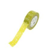 Japanese Washi Masking Tape - White Spotty Mustard Green