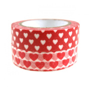 Wrapables Red Hot Hearts Japanese Washi Masking Tape, Set of 2