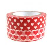 Wrapables Red Hot Hearts Japanese Washi Masking Tape, Set of 2