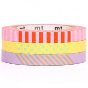 slim pink yellow lilac mt Washi Masking Tape deco tape 3pcs