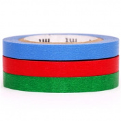 slim blue red green mt Washi Masking Tape deco tape 3pcs
