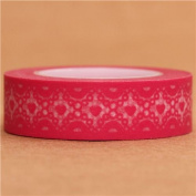 pink Washi Masking Tape deco tape with white pattern