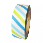Dress My Cupcake DMC41WT541 Washi Decorative Tape for Gifts and Favours, Aqua Blue/Kiwi Green Stripes