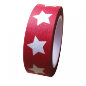 Dress My Cupcake DMC41WTMC680 Washi Decorative Tape for Gifts and Favours, Jumbo White Stars on Red