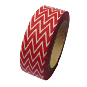 Dress My Cupcake DMC41WT1119 Washi Decorative Tape for Gifts and Favours, Classic Red Chevron