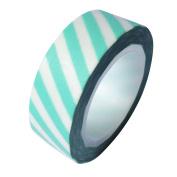 Dress My Cupcake DMC41WT308 Washi Decorative Tape for Gifts and Favours, Aqua Diamond Blue Stripes