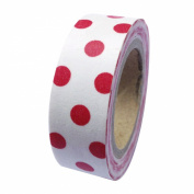 Dress My Cupcake DMC41WT1125 Washi Decorative Tape for Gifts and Favours, Red Polka Dots on White
