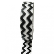 Dress My Cupcake DMC41WT383 Washi Decorative Tape for Gifts and Favours, Black Chevron on White