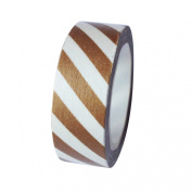Dress My Cupcake DMC41WT540 Washi Decorative Tape for Gifts and Favours, Brown Stripes