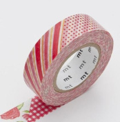 Japanese Washi Masking Tape - Red Flower Patch Large Roll