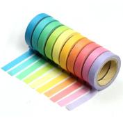 Estone 10x Decorative Washi Rainbow Sticky Paper Masking Adhesive Tape Scrapbooking DIY