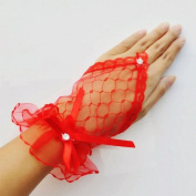 CIMC LLC Women's Lace/ Voile Fingerless Wrist Length Short Bridal Gloves