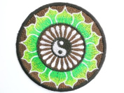 "Ying Yang Green Psychedelic Hippy Lotus Taoism Iron On Embroidered Patch 3.2""8.4cm x 3.2""/8.4cm By MNC Shop"