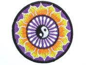 Ying Yang Purple Psychedelic Hippy Lotus Taoism Iron On Embroidered Patch