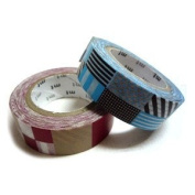 Japanese Washi Masking Tape Set of 2 - Patching Red Blue Pattern