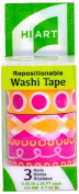HIART Repositionable Washi Tape, Smoothie Joy Pink and Yellow, Set of 3
