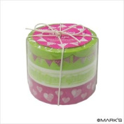 Japanese Washi Masking Tape Set of 3 - Tokyo Edge Garland Lime Pink