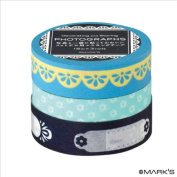 Japanese Washi Masking Tape Set of 3 - Editions de Paris Blue