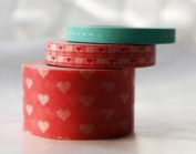 Japanese Washi Masking Tape Set of 3 - Assorted Hearts Pink