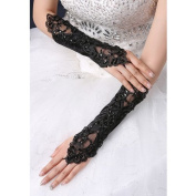 CIMC LLC Women's Fingerless Opera Lace Satin Gloves with Floral Pattern and Sequin-Black
