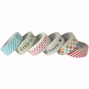 Set of 6 Printed Paper Tapes in Box - Dream, Love, Hearts