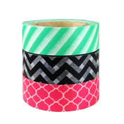 AllyDrew Lines & Swirls Japanese Washi Masking Tape (set of 3), 10M L x 15mm W