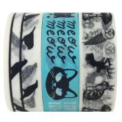Wrapables Japanese Washi Masking Tape, 10m by 15mm, Talking Animals, Set of 3