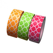 Dress My Cupcake Summer Quatrefoil Collection Washi Paper Tape for Gifts and Favours, Coral/Kiwi/Orange, Set of 3
