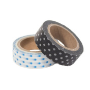 WASHI TAPE POLKA DOT - 2 PACK - BLACK AND BLUE