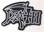 DEATH (American death metal chuck white logo patch) 8.5x8.5 Cm Iron on Patch / Embroidered Patch This Appliques Are Great for T-shirt, Hat, Jean ,Jacket, Backpacks.