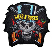 Gun & Roses patches 8x7.8 cm Iron on Patch / Embroidered Patch This Appliques Are Great for T-shirt, Hat, Jean ,Jacket, Backpacks.
