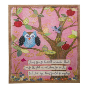 Inspirational Owl and Tree Burlap Canvas Wall Art