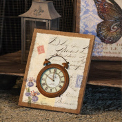 Metal Clock on Burlap Canvas Wall Art