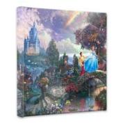 Thomas Kinkade Cinderella Wishes upon a Dream 36cm x 36cm x 1.13cm canvas wrap